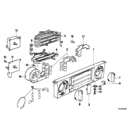 Placa frontal accionamiento calefacción. Bmw E28