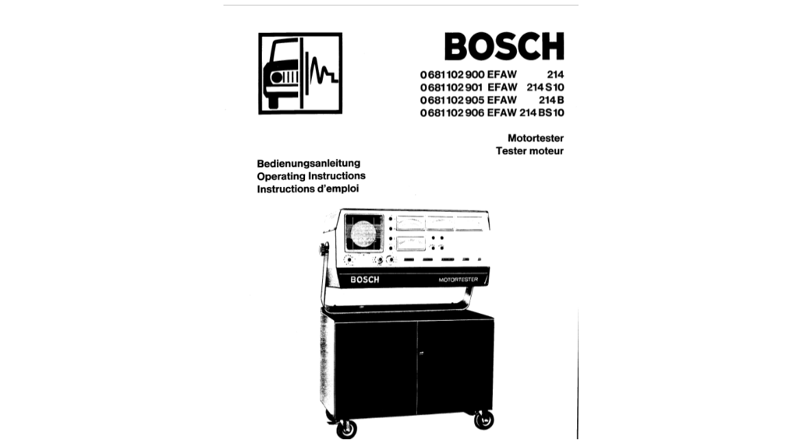 Manual Bosch Motortester EFAW 214